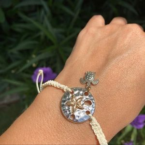 Sand Dollar &  Sea Turtle Silver Braided  Bracelet